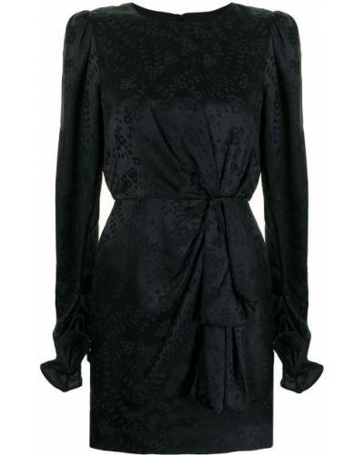 Шелковое с рукавами черное платье мини Saloni