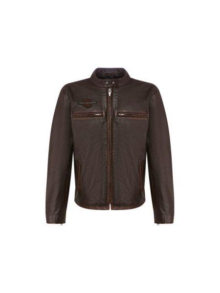 Коричневая кожаная кожаная куртка с подкладкой Harley Davidson