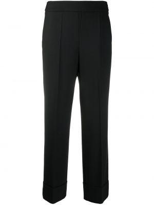 Прямые черные с завышенной талией брюки Incotex