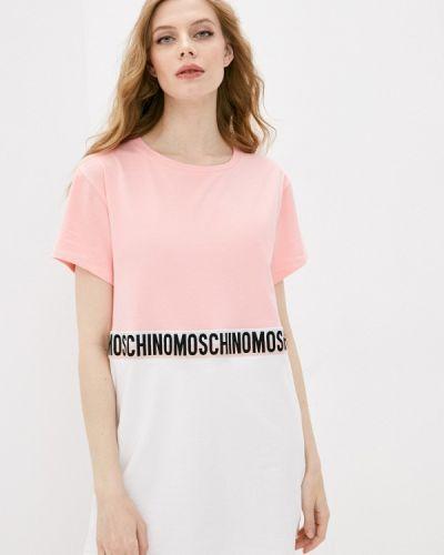 Розовая футболка с короткими рукавами Moschino Underwear