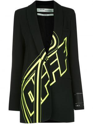 Черный удлиненный пиджак оверсайз с воротником Off-white