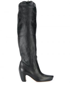 Ботинки на каблуке черные Lanvin