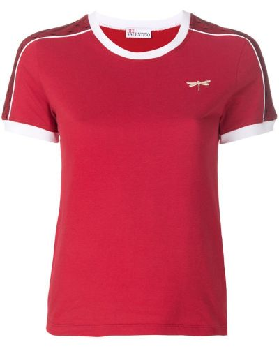 Красная футболка с заплатками Red Valentino