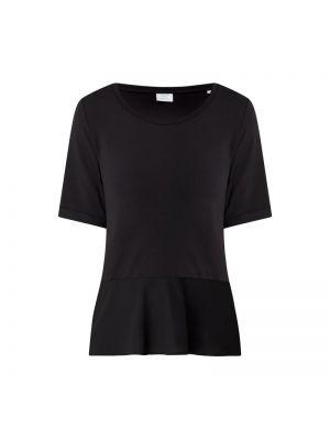 Czarny t-shirt z jedwabiu z falbanami Marc O'polo Pure