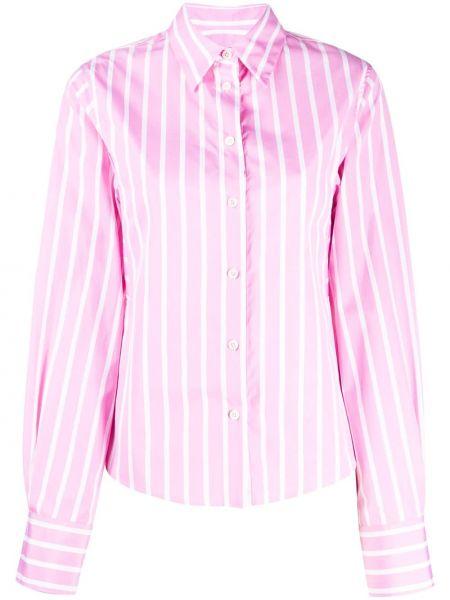 Хлопковая розовая классическая рубашка с воротником на пуговицах Odeeh