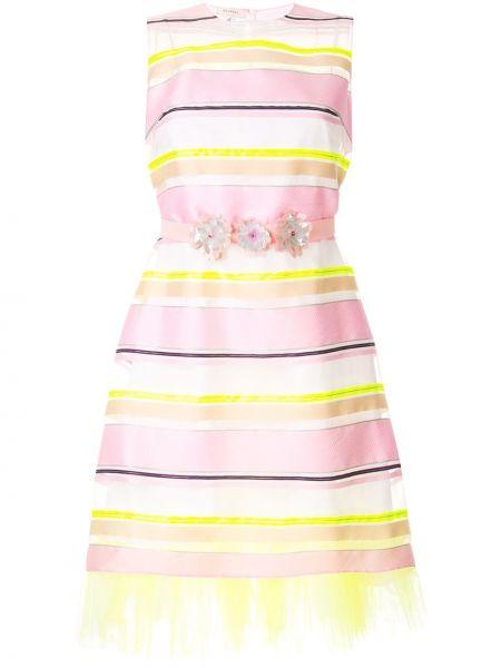 Różowa sukienka w paski z jedwabiu Delpozo