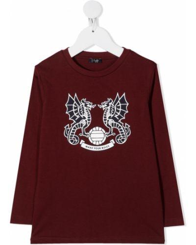 Bawełna z rękawami prosto burgundia t-shirt Il Gufo