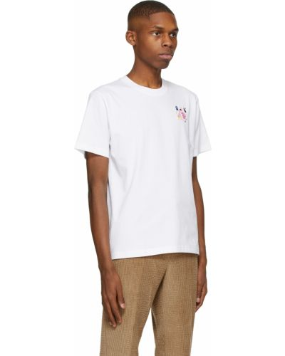 Biały t-shirt bawełniany z haftem Carne Bollente