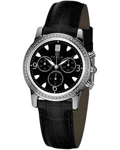 Часы на кожаном ремешке черные с подсветкой Nika