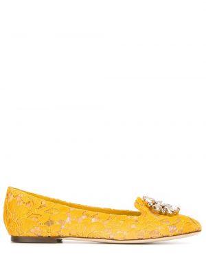 Żółte ażurowe kapcie skorzane Dolce And Gabbana