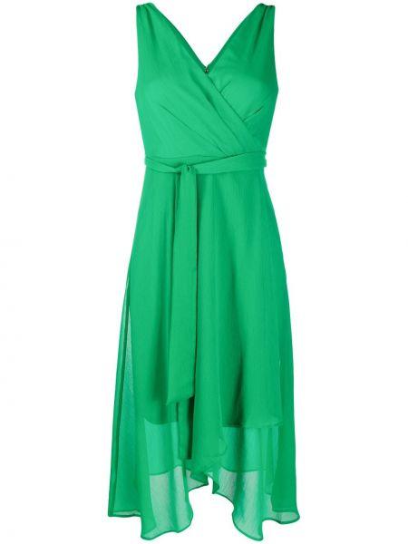 Зеленое платье с запахом с V-образным вырезом без рукавов Dkny
