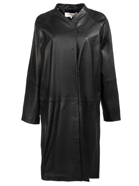 С рукавами кожаный черный длинный плащ с карманами Gerard Darel
