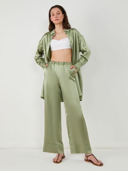 Шелковые брюки - зеленые 12storeez