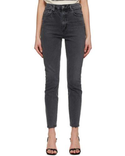 Niebieskie jeansy rurki bawełniane z paskiem Agolde