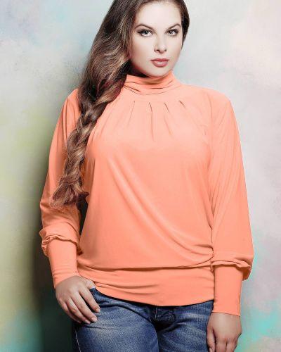 Оранжевая трикотажная водолазка с отворотом Tatiana