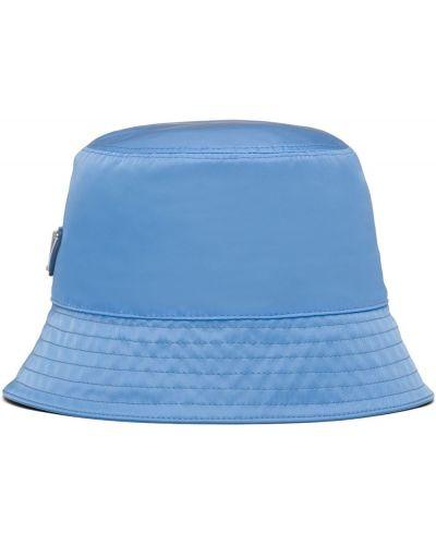 Niebieski kapelusz srebrny Prada