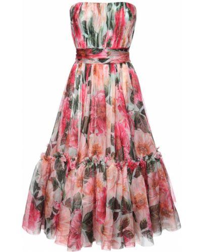 Шелковое розовое платье с подкладкой Dolce & Gabbana