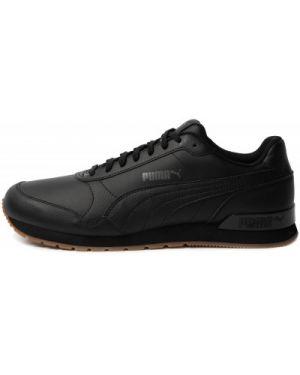 Кожаные классические черные кроссовки на шнуровке Puma