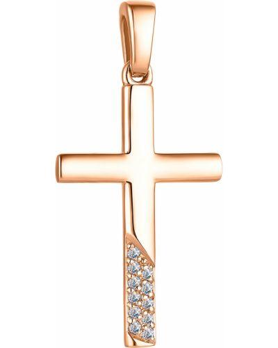 Золотистый белый крест с бриллиантом алькор