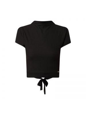 Czarna bluzka krótki rękaw z wiskozy Guess