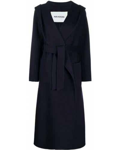 Синее шерстяное длинное пальто с капюшоном Ava Adore