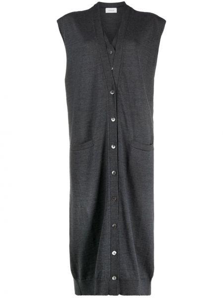 Sukienka zapinane na guziki z dekoltem w serek z akrylu Lemaire