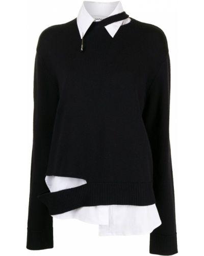 Черный пуловер с вырезом круглый Monse