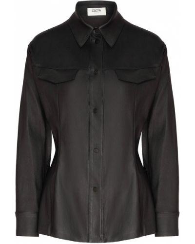 С рукавами черная блузка с воротником Izeta
