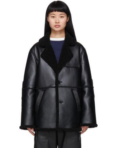 Czarny długo płaszcz z długimi rękawami z klapą prążkowany Gr-uniforma