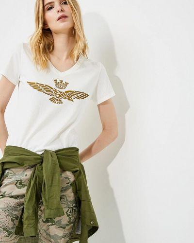 Бежевая футболка Aeronautica Militare