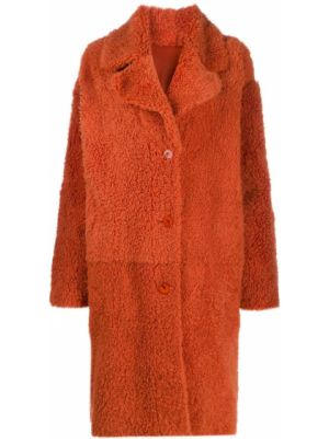 Пальто из овчины - оранжевое Drome