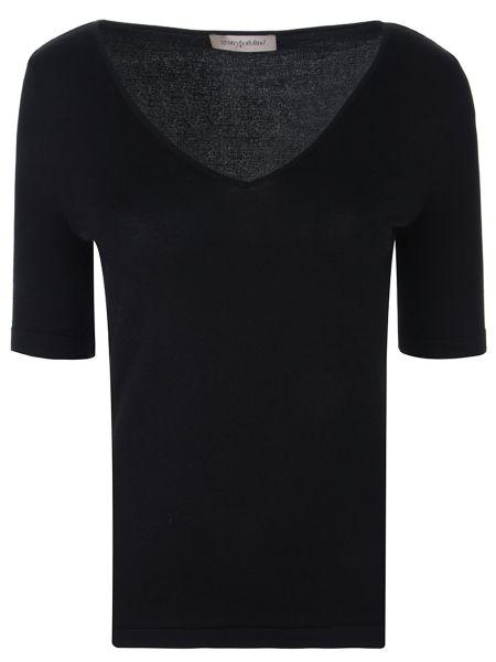 Приталенная базовая черная футболка с V-образным вырезом Gentryportofino