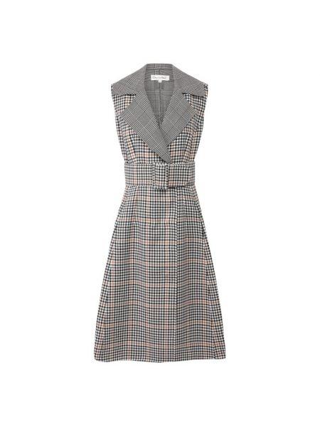 Платье с поясом в рубчик классическое Oscar De La Renta
