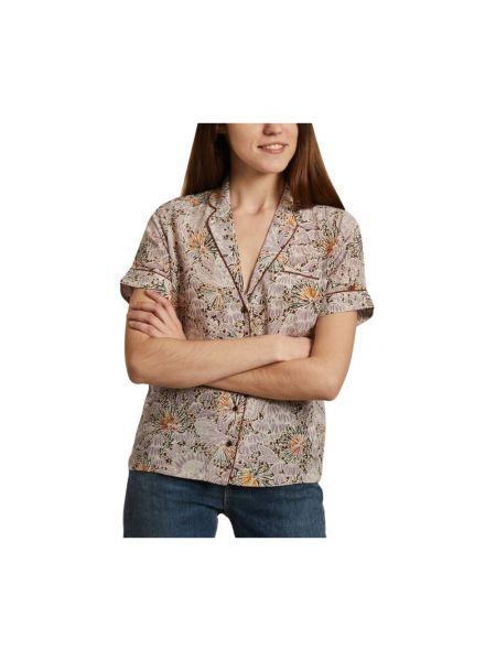 Beżowa koszula krótki rękaw w kwiaty Sessun