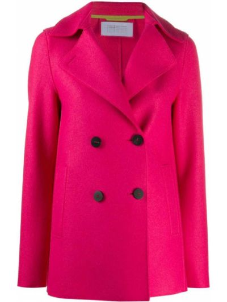 Шерстяное розовое пальто с воротником на пуговицах Harris Wharf London