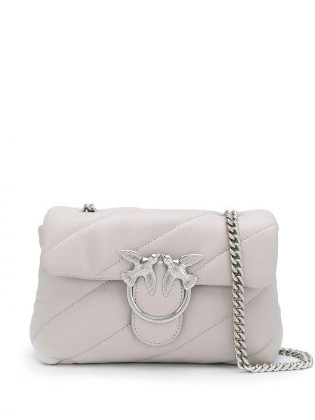 Skórzany pikowana torba kosmetyczna z klamrą Pinko