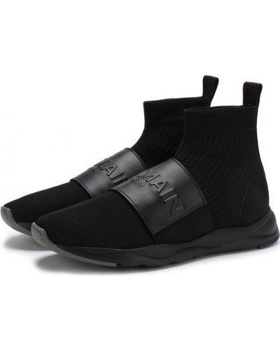 Высокие кроссовки кожаные с логотипом Balmain