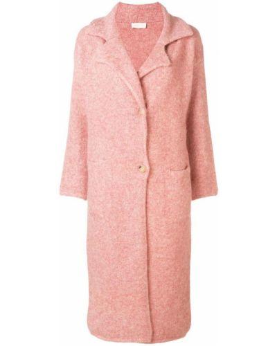 Розовое пальто из мохера на пуговицах с капюшоном Chiara Bertani