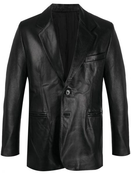 Прямой кожаный черный удлиненный пиджак Ernest W. Baker