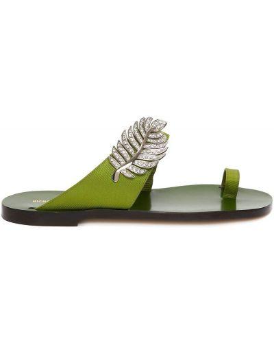 Zielone sandały plaskie skorzane Nicholas Kirkwood