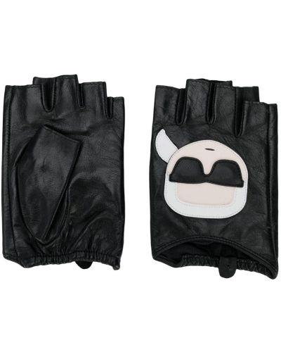 Перчатки без пальцев черные Karl Lagerfeld