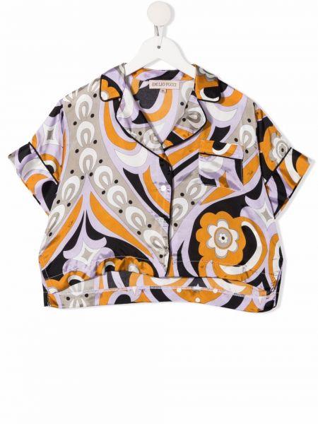 Koszula krótki rękaw - fioletowa Emilio Pucci Junior