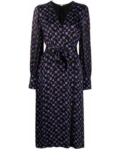 С рукавами черное платье миди с запахом Karl Lagerfeld