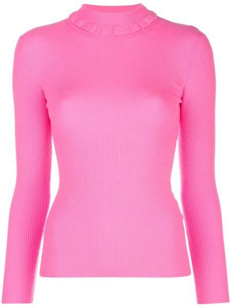 Прямой шерстяной розовый свитер в рубчик Tanya Taylor
