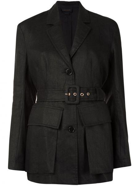 Однобортный черный удлиненный пиджак с поясом Karen Walker