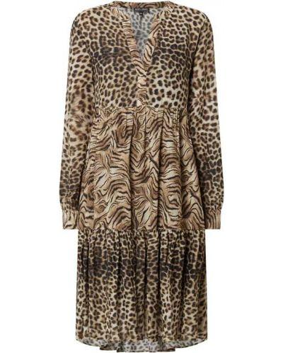 Brązowa sukienka rozkloszowana z długimi rękawami Risy & Jerfs