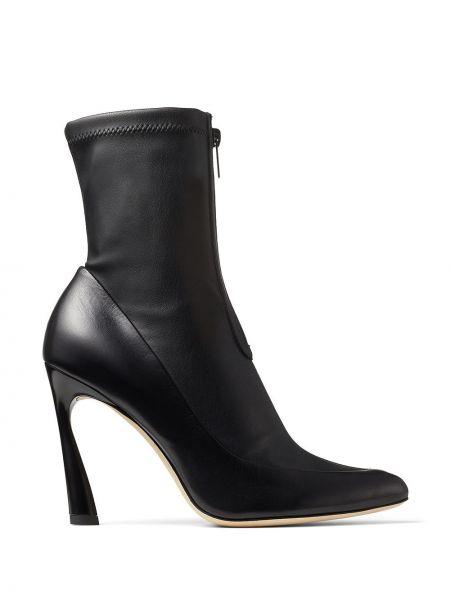 Skórzany czarny buty na wysokości na pięcie z ostrym nosem Jimmy Choo