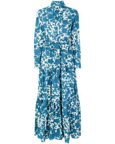 Платье с цветочным принтом с длинными рукавами La Doublej