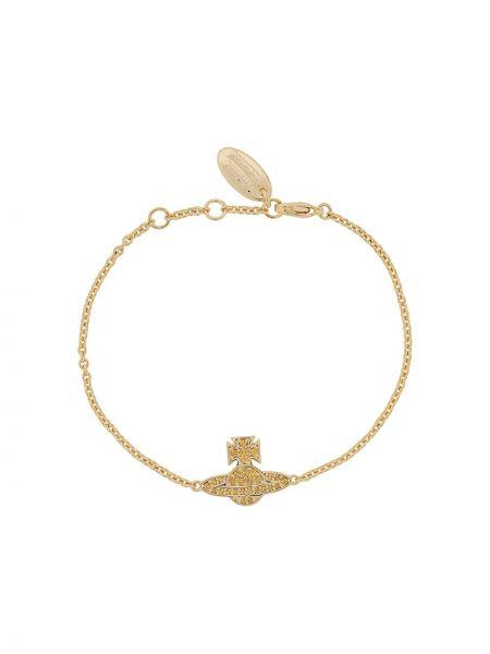 Золотистый браслет золотой с заклепками Vivienne Westwood