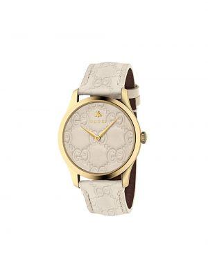 Z paskiem biały zegarek na skórzanym pasku z prawdziwej skóry Gucci